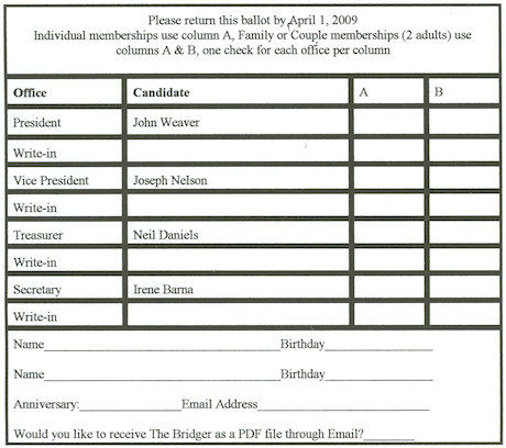 2009 election ballot