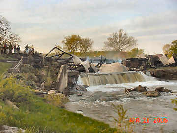 Bridgeton Covered Bridge fire. Photo by Cathy Harkrider May 28, 2005