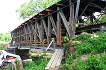 Cabin Creek covered bridge - repairs in progress