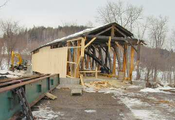 The siding is nearly complete on the downstream side. Photo by Joe Nelson, February 20, 2004