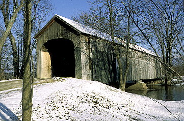 Salisbury Station Bridge. Photo from Spanning Time - Vermont's Covered Bridges by Joe Nelson 1997