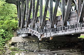 Sanborn covered bridge damage