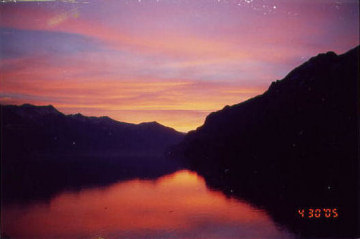 Sunrise over Lake Brienz. Photo by Lisette Keating April, 2005