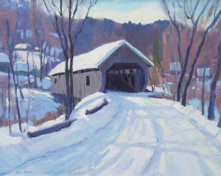 Cambridge Junction Covered Bridge, Painting by Eric Tobin